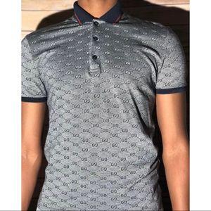 Gucci GG Print Slim Fit Cotton Polo Size S (Men's)